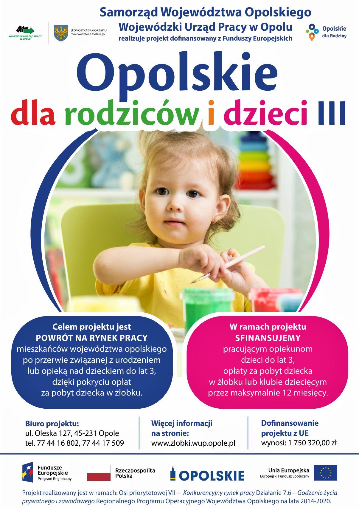 """Plakat projektu """"Opolskie dla rodziców i dzieci III"""""""