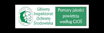 Logotyp GIOŚ z napisem Pomiary jakości powietrza według GIOŚ