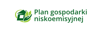 Zielony symbol oraz napis Plan gospodarki niskoemisyjnej