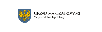 Herb Opolskiego Urzędu Marszałkowskiego - żółty orzeł na niebieskim tle oraz napis Urząd Marszałkowski Województwa Opolskiego