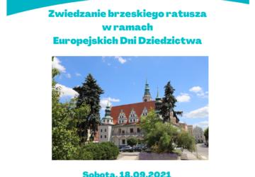 Plakat informujący o zwiedzaniu brzeskiego ratusza w ramach Europejskich Dni Dziedzictwa