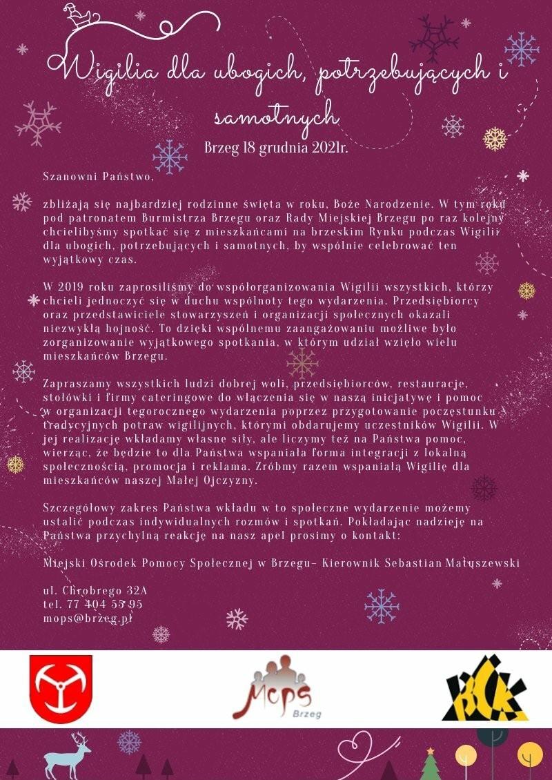 Plakat - Wigilia dla ubogich, potrzebujących i samotnych