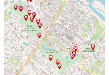 Mapa trasy Szlakiem Pomników Przyrody i innych ciekawostek